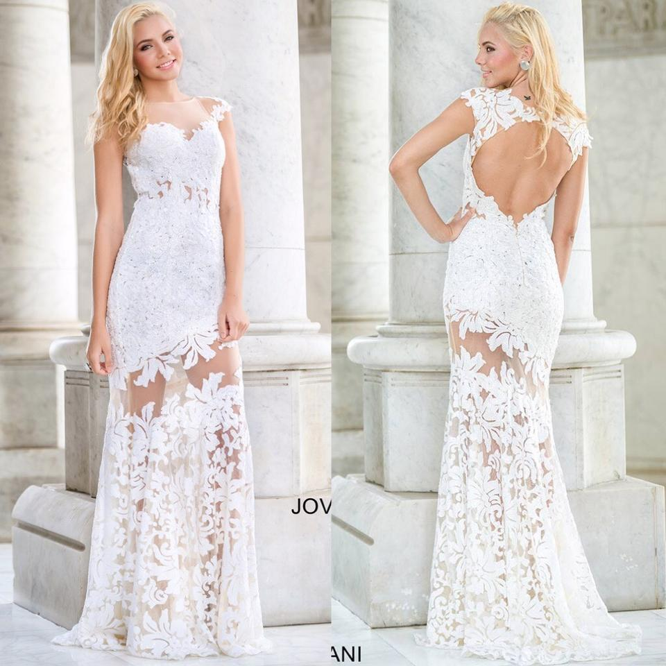 Jovani White Lace Cap Sleeve Embellished Floral with Sheer Illusion ...