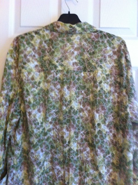 JM Collection Top Green, White, Beige multi Image 1