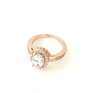Fashion Culture Oval Crystal Solitare with Pave Accents Rose Gold