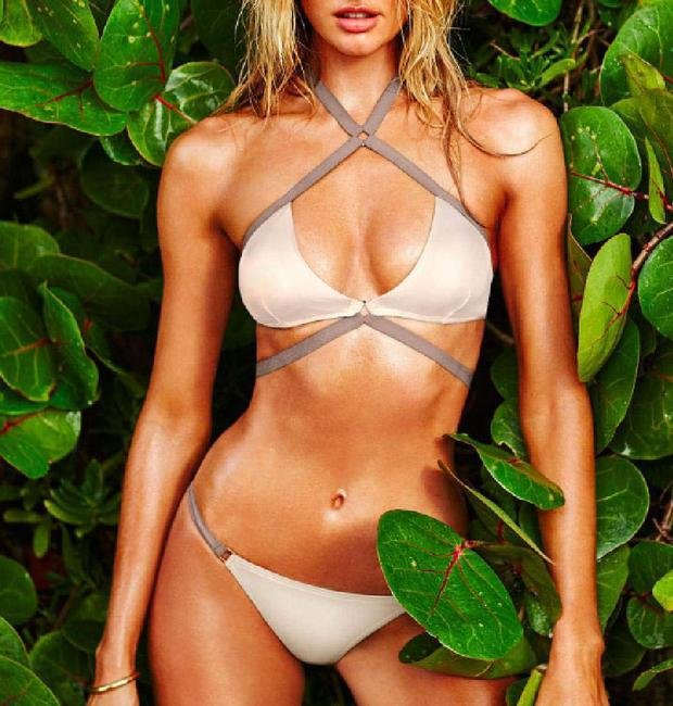 Item - White and Beige Strappy Swimsuit Bikini Set Size 6 (S)