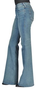 True Religion Distressed White Stretchy Flare Leg Jeans-Light Wash
