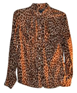 Lucky Brand Silk Animal Print Button Down Shirt Cheetah print