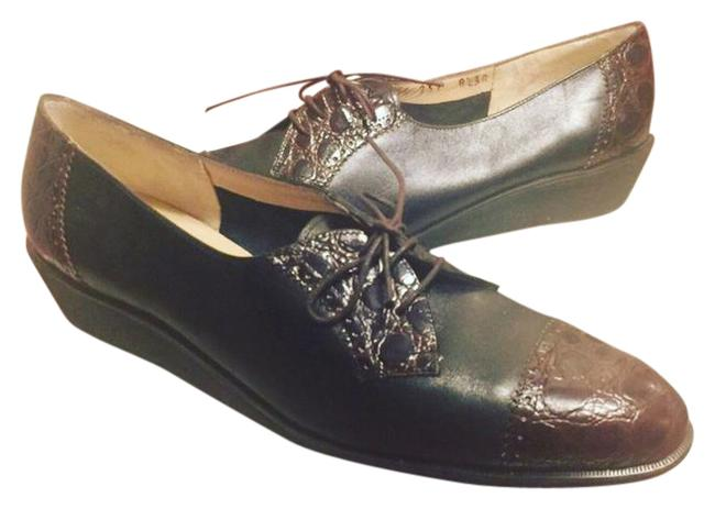 Item - Black/Brown Boutique Black/Brown Textured Italian Leather Oxford Style Loafers Flats Size US 8.5 Narrow (Aa, N)