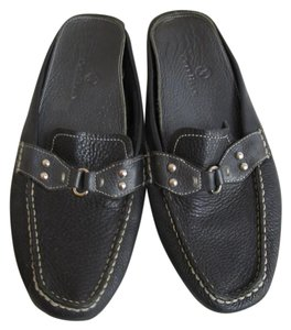 Cole Haan Leather Silver Hardware Black Flats