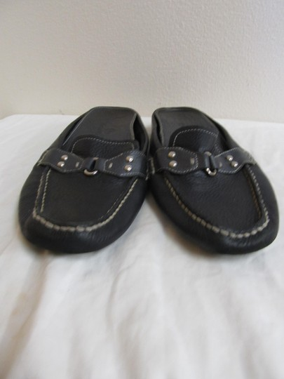 Cole Haan Leather Silver Hardware Black Flats Image 1