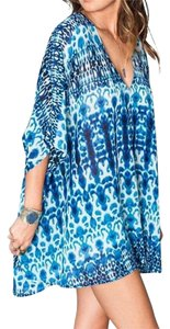 Show Me Your Mumu Printed Peta White Coverup Oversized V Neck Cape Swingy Mini Tunic
