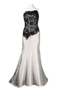 Adrianna Papell Strapless Floral Crochet Bodice Mermaid Cut Satin Twill Wedding Dress