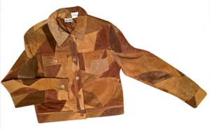 Newport News Real Suede Patchwork Lined Multi-golds & browns Leather Jacket