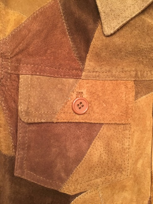 Newport News Real Suede Patchwork Lined Multi-golds & browns Leather Jacket Image 1