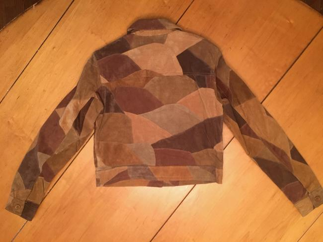 Newport News Real Suede Patchwork Lined Multi-golds & browns Leather Jacket Image 2