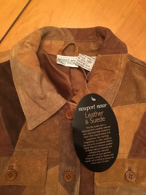 Newport News Real Suede Patchwork Lined Multi-golds & browns Leather Jacket Image 3