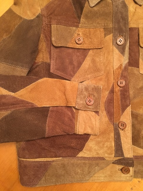 Newport News Real Suede Patchwork Lined Multi-golds & browns Leather Jacket Image 4
