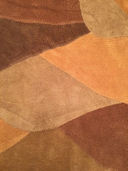Newport News Real Suede Patchwork Lined Multi-golds & browns Leather Jacket Image 5