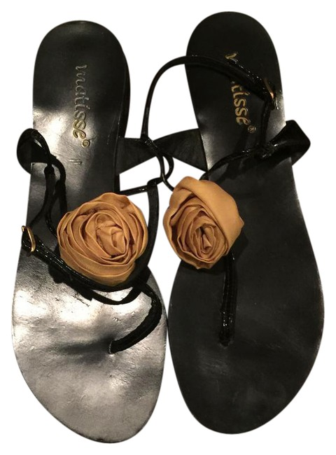 Item - Black Patent with A Yellow Rose Flower Thong Sandals Size US 9 Regular (M, B)