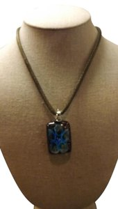 Glass Flower Necklace Bronze chain with Blue 3D Flower,Really Neat!