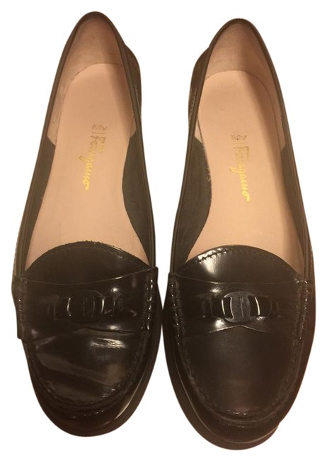 Item - Black Boutique Italian Leather Classic Logo Loafers Flats Size US 9 Wide (C, D)