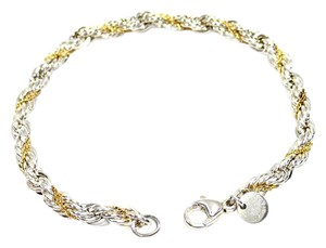 Tiffany & Co. Beautiful Vintage Sterling Silver & 18k Gold Rope Bracelet 7.5