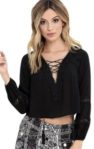 Lulu*s By My Oceanside Crop Bohemian Lace Up Lace Trim Top BLACK