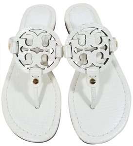 Tory Burch Flip Flops Bold Logo Cutout Animal Print Made In Brazil Leather Sandals