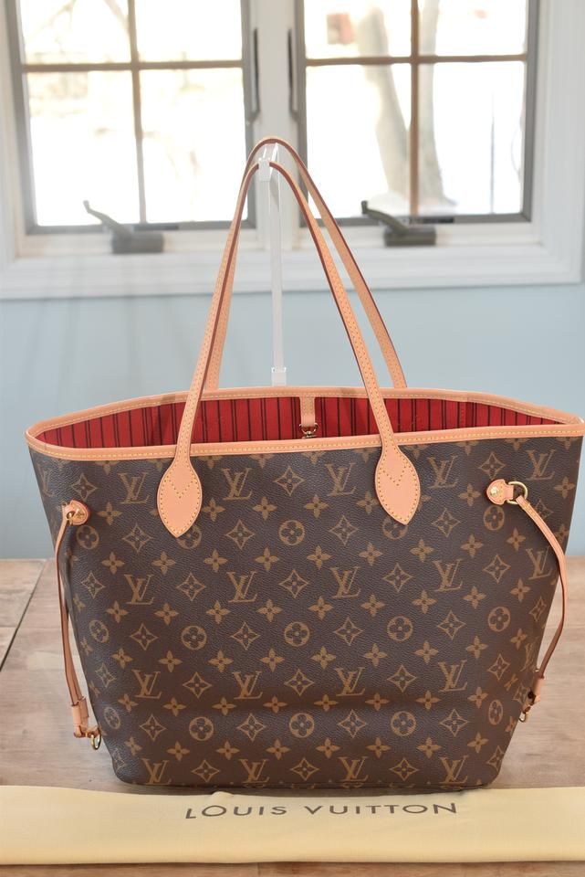 c329e47f7 Louis Vuitton Lv Neverfull Tote in Monogram w/ CERISE (red) lining Image 0  ...