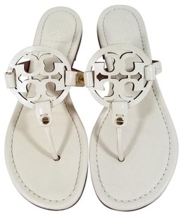 Tory Burch Flip Flops Bold Logo Cutout Made In Brazil Ivory Sandals