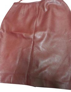 Mixit Leather Pencil Skirt Burgundy