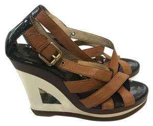Michael Kors Metallic Wood Boho Brown and Gold Wedges