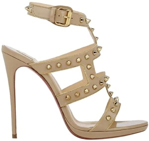 Christian Louboutin Spikes Studded Strappy Sexy Strapi Beige Sandals