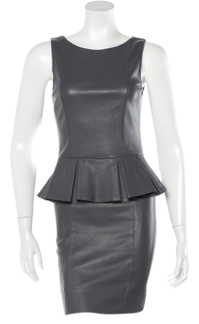 Preload https://img-static.tradesy.com/item/20769736/thomas-wylde-grey-gray-leather-mini-peplum-fitted-tight-tank-sheath-silk-shift-short-cocktail-dress-0-1-650-650.jpg