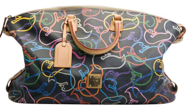 Item - Duffle Graffiti Duck Print Large Multicolor Leather Weekend/Travel Bag