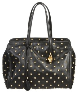 Alexander McQueen Skull Studded Leather Tote in Black