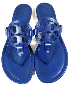 Tory Burch Flip Flops Bold Logo Cutout Made In Brazil Jewel Blue Sandals