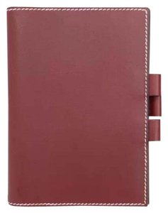 Hermès hermes burgundy leather agenda cover notebook diary day planner