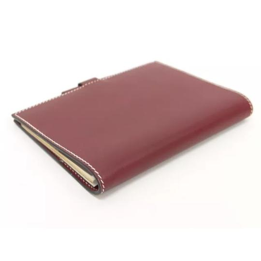 Hermès hermes burgundy leather agenda cover notebook diary day planner Image 1