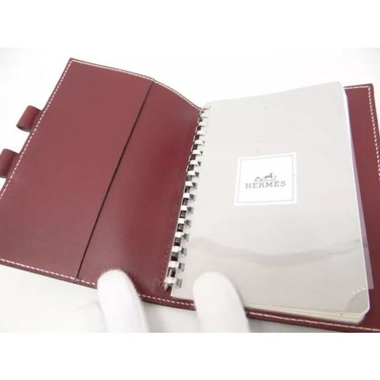 Hermès hermes burgundy leather agenda cover notebook diary day planner Image 6