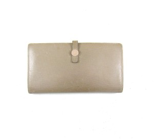 Chanel Grey Leather Long Bifold Clutch Wallet w/ Snap Closure Italy