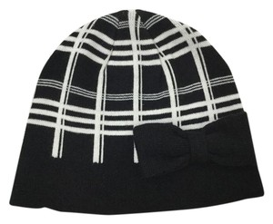 Kate Spade NWT KATE SPADE SCUBA PLAID BEANIE W BOW BLACK CREAM HAT ONE SIZE