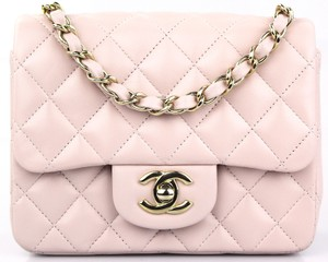 82b26a3123f8 Added to Shopping Bag. Chanel Shoulder Bag. Chanel Mini Square Light Pink Lambskin  Leather ...
