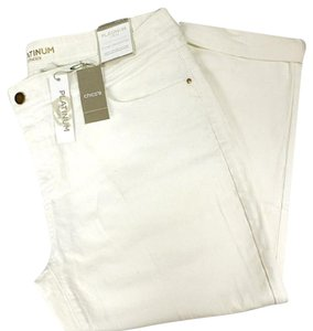 Chico's Platinum Roll Cuff Cropped Capri/Cropped Denim-Light Wash
