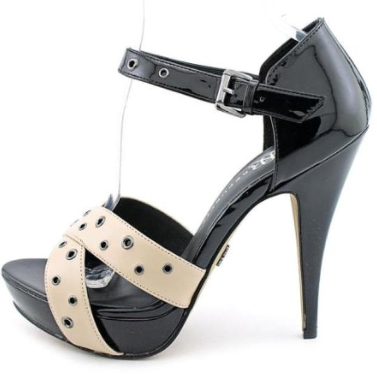 Rock & Republic High Heels Eyelet Nude Sexy Black & Beige Platforms