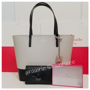 Kate Spade Set Gift Set Handbag Wallet Set Leather Gray Leather Tote in Black