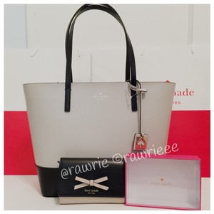 Kate Spade Set Gift Set Handbag Wallet Set Black Leather Two-tone Tote in Gray