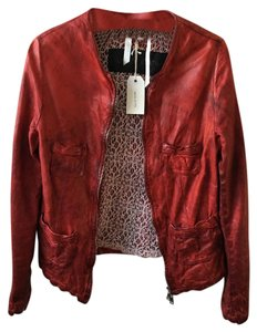 Giorgio Brato New With Tags Leather Italian Handmade Red Leather Jacket