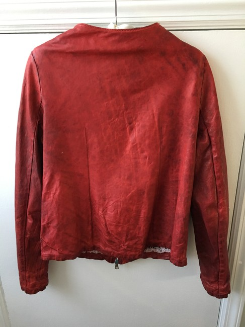 Giorgio Brato New With Tags Italian Handmade Red Leather Jacket Image 1