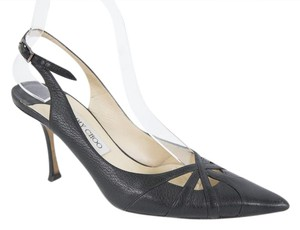 Jimmy Choo Leather Slingback Black Pumps