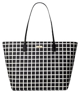 Kate Spade Oversized Large Multifunction Check Two-tone Tote in Black