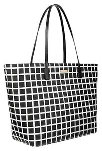 Kate Spade Oversized Large Tote Multifunction Tote Check Two-tone Black Travel Bag