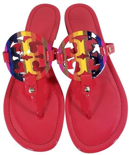 f4b46f365c94a Tory Burch Flip Flops Bold Logo Cutout Leather Made In Brazil Red Raimbow Patent  Sandals ...