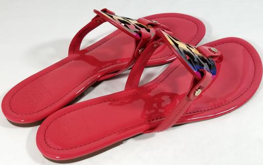 39ffe1ad9e065 Tory Burch Flip Flops Bold Logo Cutout Leather Made In Brazil Red Raimbow  Patent Sandals