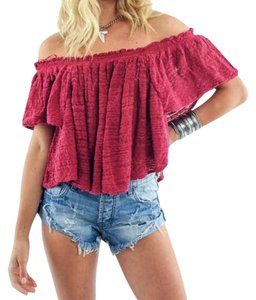 Free People Lightweight Off The Shoulders Sheer Swingy Super Soft Top Raspberry
